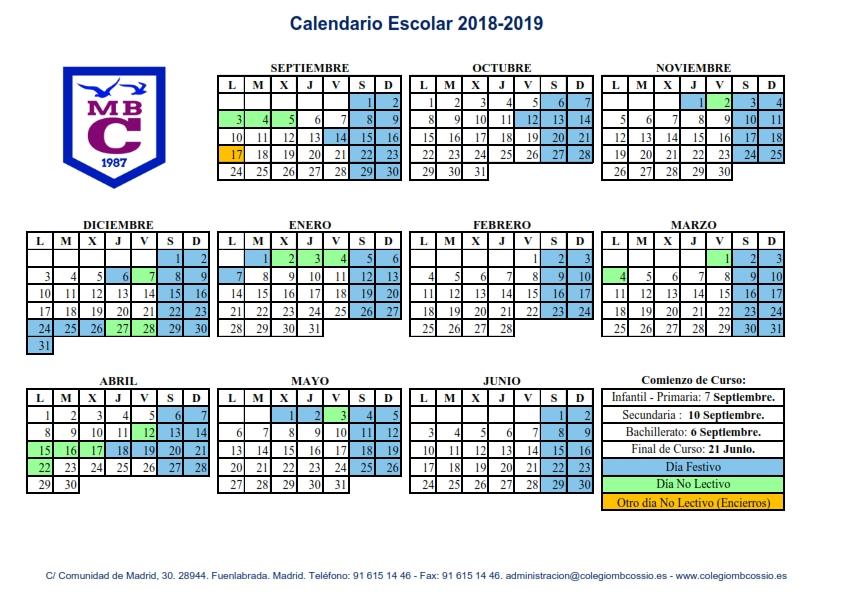 Calendario Laboral Fuenlabrada 2020.Calendario Escolar